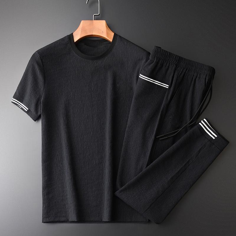 Camisa de chándal de verano (camiseta + pantalones) Tela de lujo de lujo para hombre deportivo deportivo más tamaño 3xl 4xl cintura elástica para hombre conjuntos