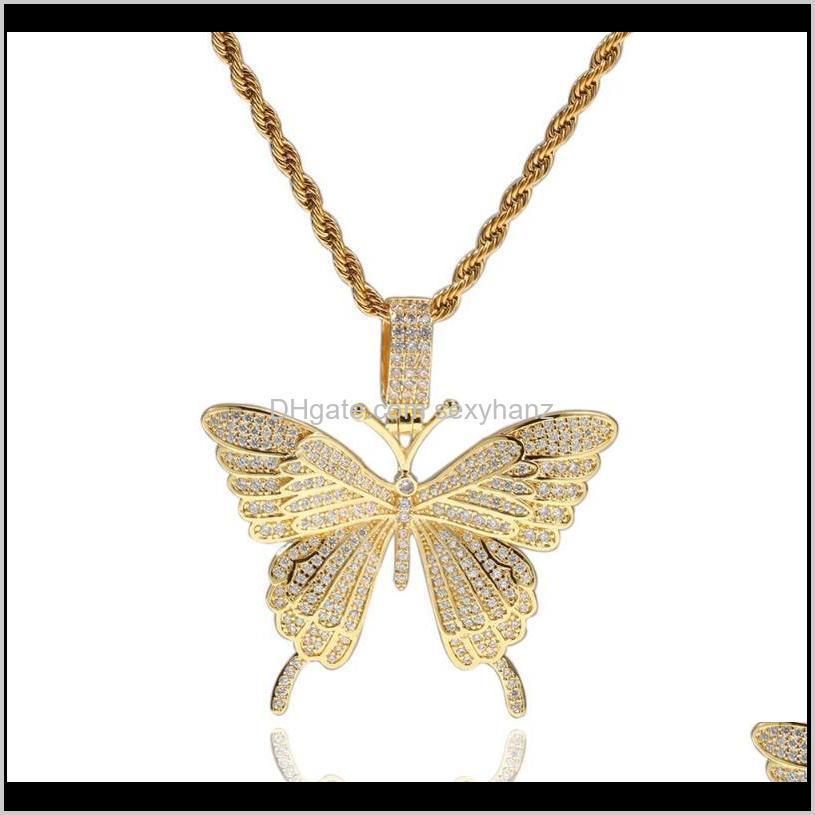 Chains Necklaces & Pendants Jewelry Drop Delivery 2021 Est Cz Zircon Micro Paved Bling Women Men Butterfly Pedant Necklace Hip Hop Jewerly Fa
