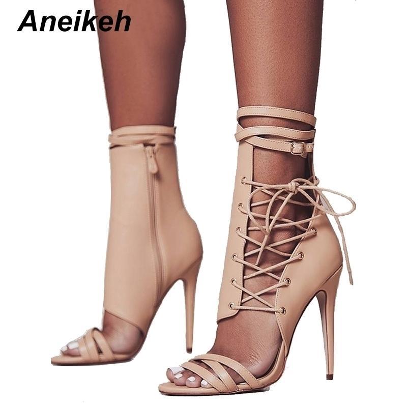 ANEIKEH Boucle de boucle romaine Chaussures Sandales Femmes Sandales Sexy Gladiateur Lace up Peep Toe Sandales Haute Talons Femme Bottinest de la cheville 88-20 210413