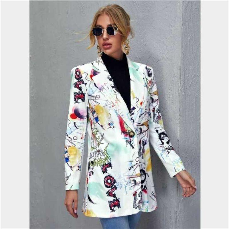2021 Kadın Takım Elbise Bahar Moda Dış Ticaret Konumlandırma Baskı Bayanlar Rahat Uzun Kollu Küçük Takım Top Trendy