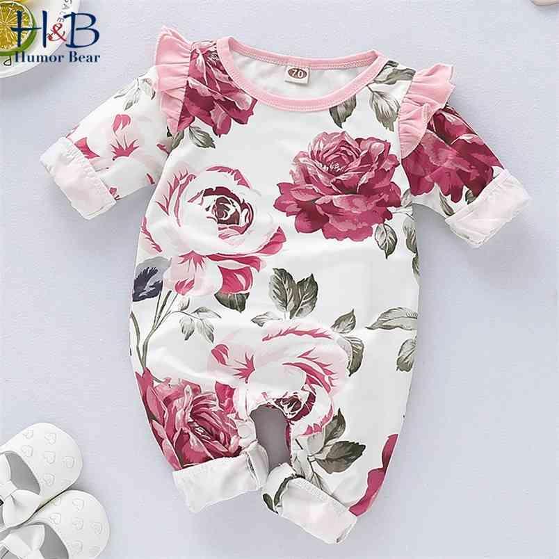 Bebek Bahar ve Sonbahar Giyim Kişilik Kız Sevimli Uzun Kollu Gül Baskı Romper 210611
