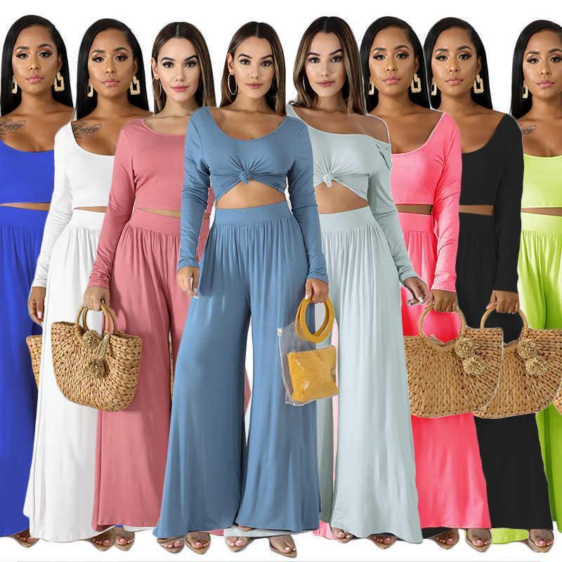 Frauen Zwei Stück Hosen Massivfarbe Lässig Großanzug Kleid Langarm Lose Mode Anzug Herbst Wide Pantsthe Neue Liste