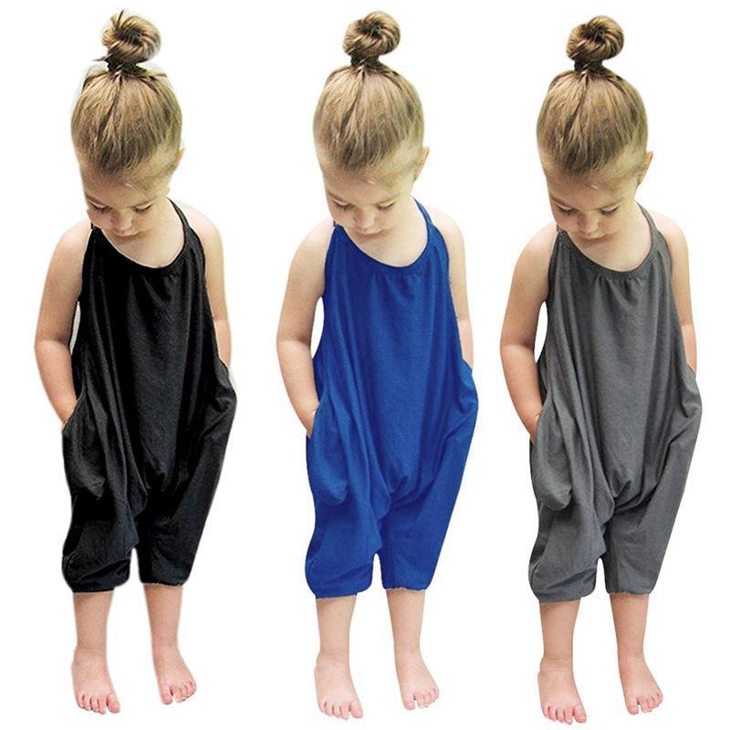 KT أطفال بنات الشريط وزرة بلا أكمام رومبير حللا الإضصون اللون الصلب حبال الصيف الأزياء بوتيك تسلق الملابس