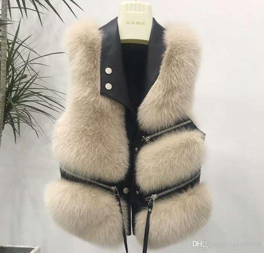 Faux Fur Vest coat women's Lapel sleeveless buckle Slim Fit Plus Size Teddy coat high street plush fur one piece jacket