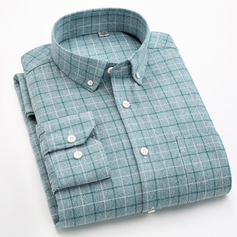 브랜드 캐주얼 셔츠 50 % 코 튼 폴리 에스터 플러스 사이즈 5XL 큰 남자 100kg 여름 봄 격자 무늬 남성 아시아 122201229 남자 셔츠