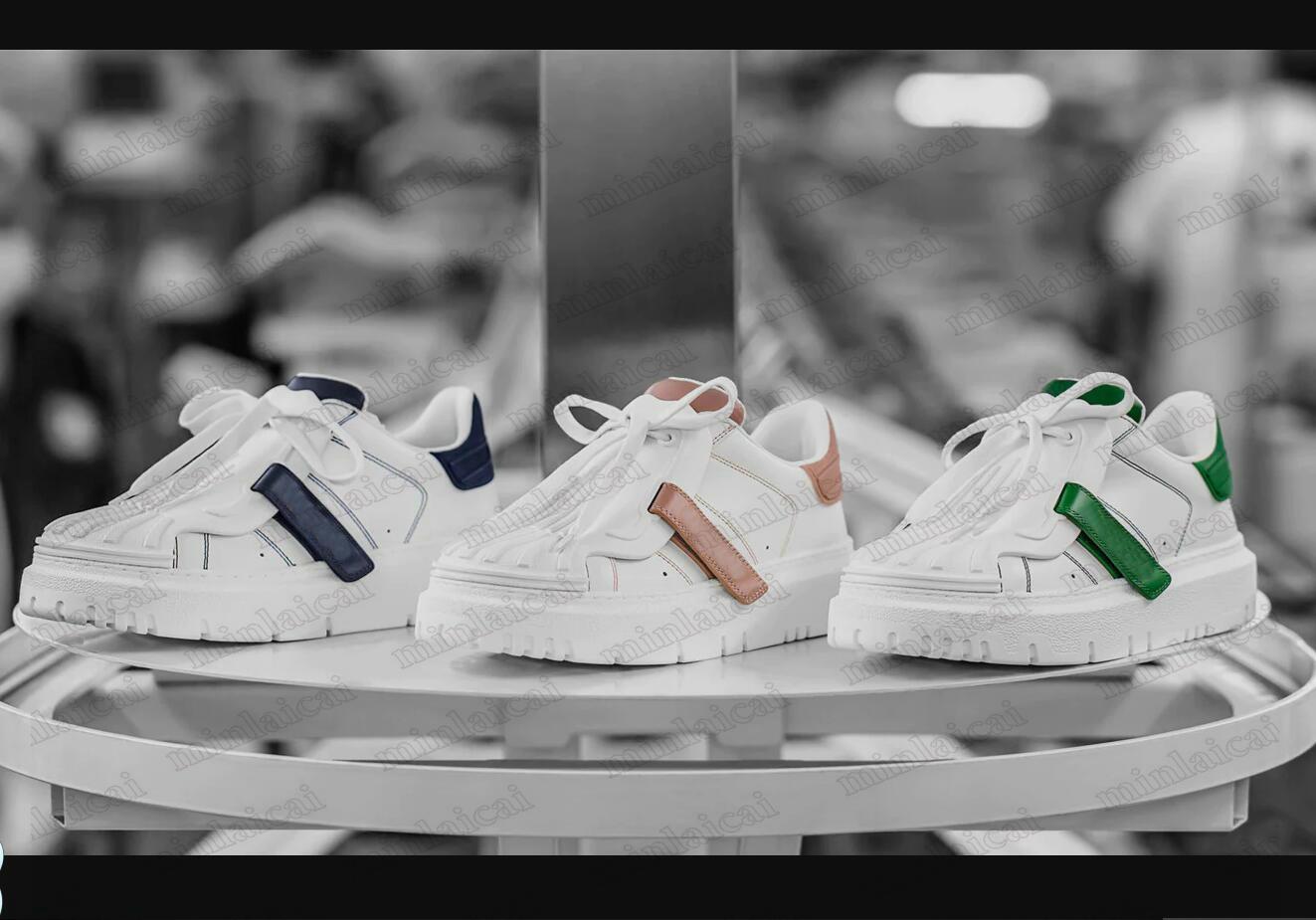 21SS Womens ID White Sneakers Designer Luxus Frauen Trainer Schuhe Calfskin LeatherPlatform Trainer Niedrige Top Gummi Mädchen Läufer Freizeitschuh