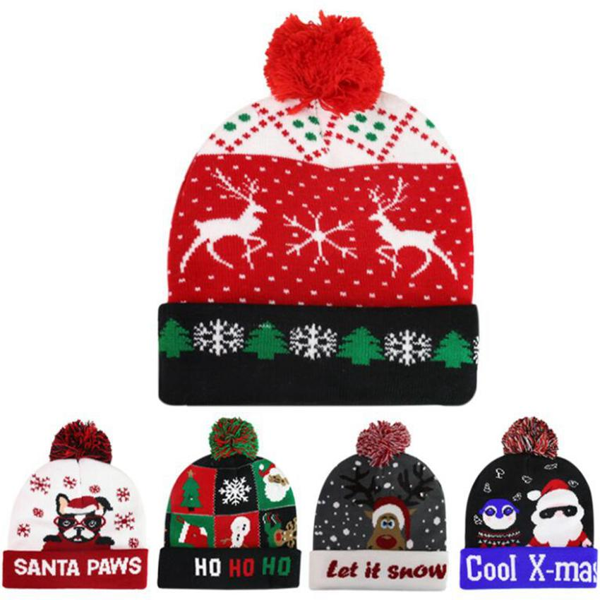 10 style Led Christmas Knitted Hats 23*21cm Kids Mom Winter Warm Beanies Deer Santa Claus Crochet Caps ZZA3338