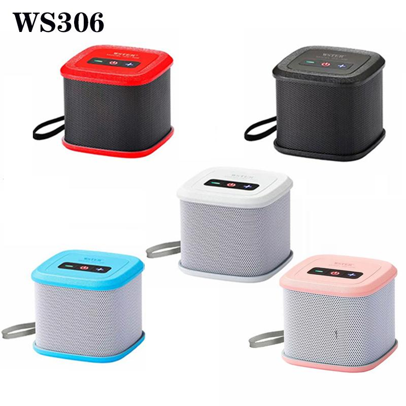 WS306 Wireless Bluetooth Speaker Mini Portable Speakers FM Plug-in Card Double Horn Shower Car Handsfree Receive Call Music Suction for PC smartPhone