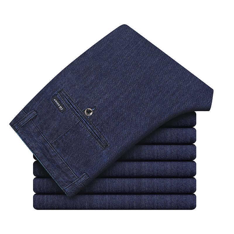 Spring and Summer Mincel Coton Denim Pantalon Casual Business Homme Droite Lâche Stretch Supplément Jeans Homme High-Ents Pantalons 210531