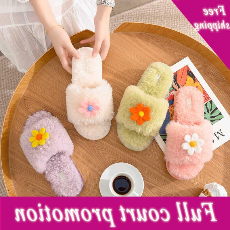 New household flower imitation rabbit hair open toe fur moon shoes flip flop warm indoor women's plush slippers