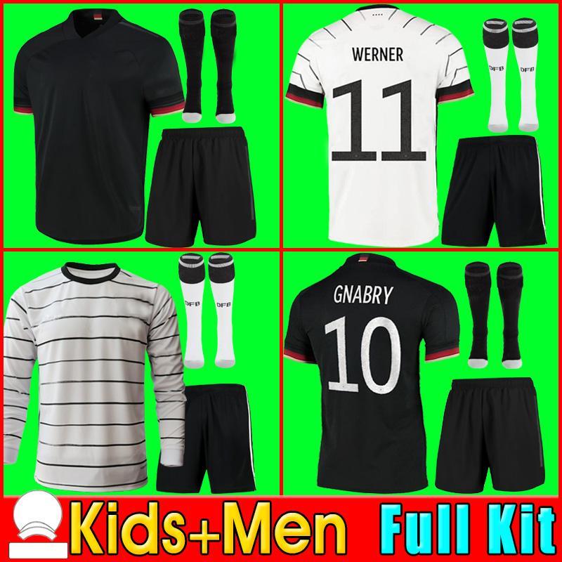 2021 독일 2020 축구 유니폼 홈 키트 Hummels Kroos Draxler Reus Muller Gotze 유럽 컵 축구 셔츠 유니폼 남성 + 키트 키트 adult kit set shorts socks