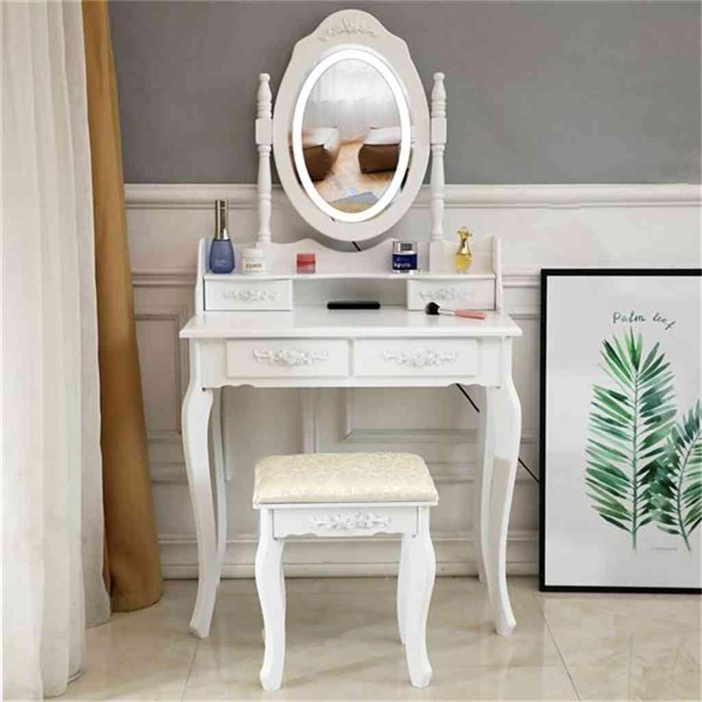 Vanity Set With Lighted Mirror, Makeup Vanity Dressing Table With Touch Screen Dimming Mirror 4 Drawers Dresser Desk And Cushioned Stool Set-White