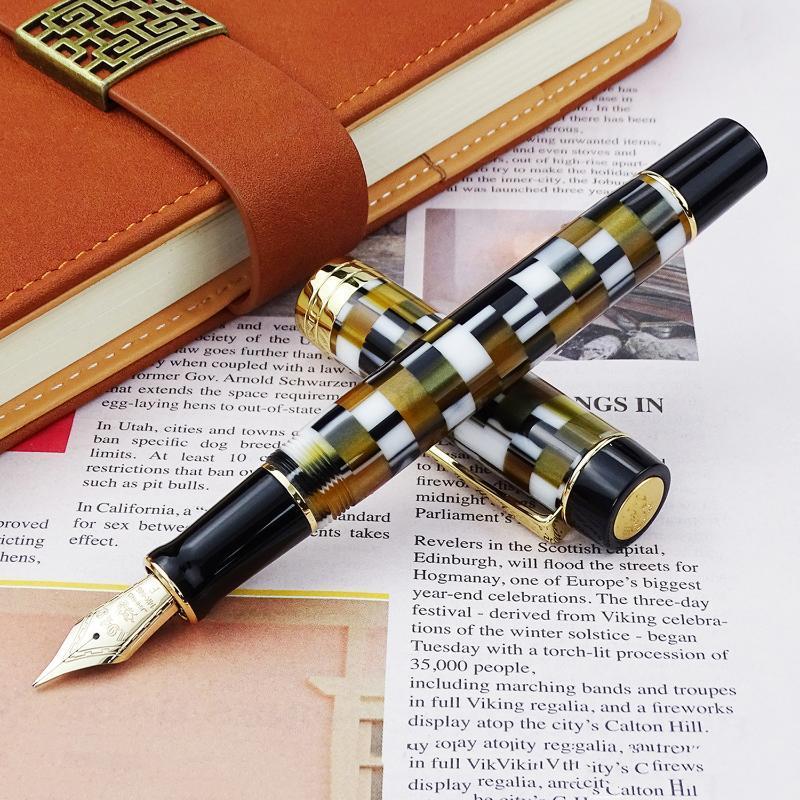 Jinhao 100 14k ouro resina fonte caneta marrom checkerboard fine tamanho 0.5mm tinta com conversor para escritório de escritório escrevendo canetas