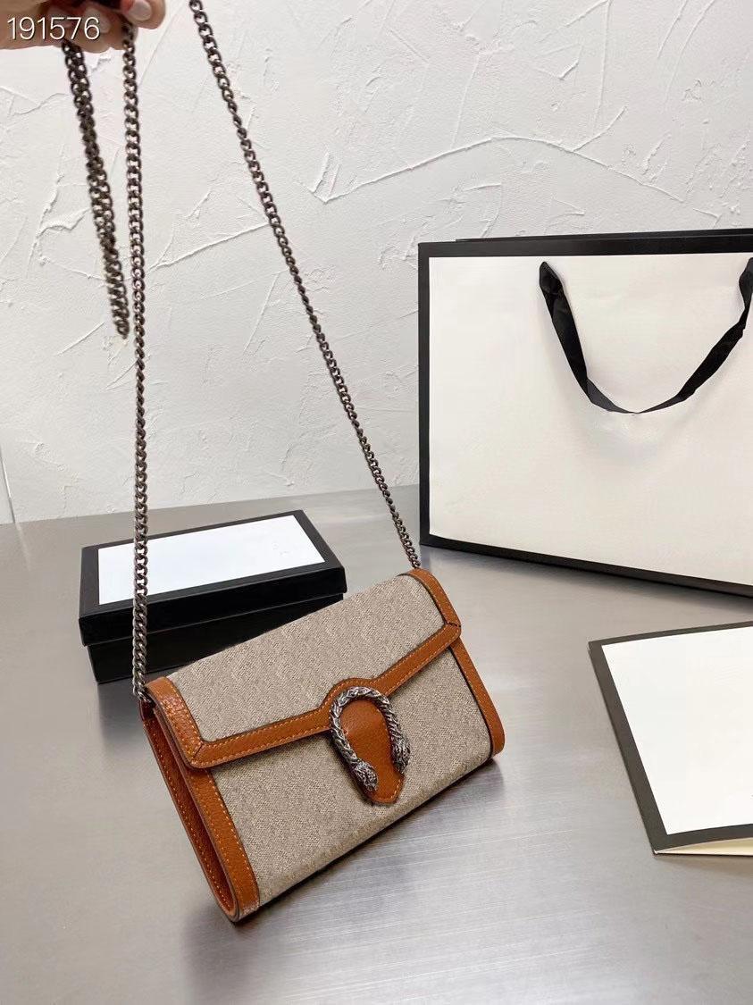 2021 مصمم العلامة التجارية كتف واحد حقيبة قطري طباعة سلسلة طباعة سلسلة الأزياء الكلاسيكية السيدات محفظة جلد مجاني حمل حقيبة
