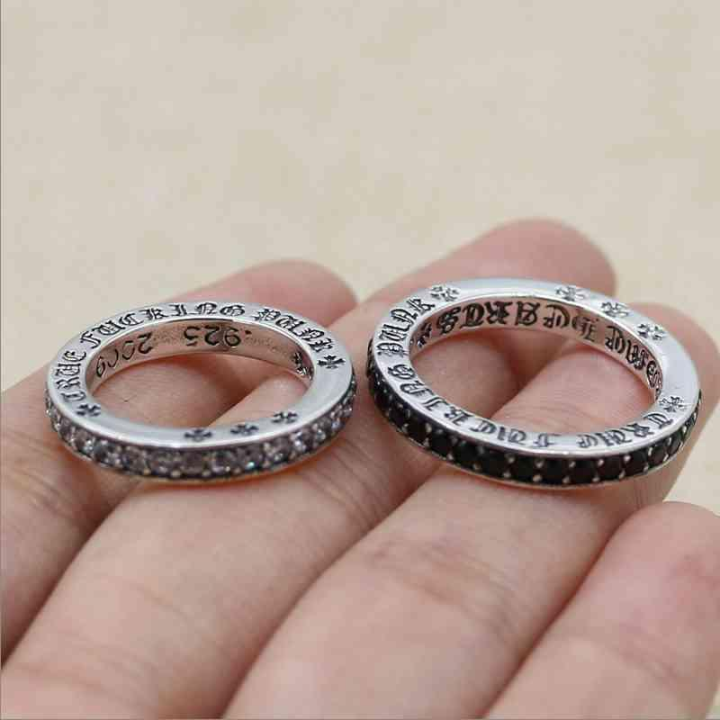 Luxury Chrome/Hearts Couple Rings S925 Sterling Silver ch Croix ring Thai silver personalized cross flower Japan and South Kore