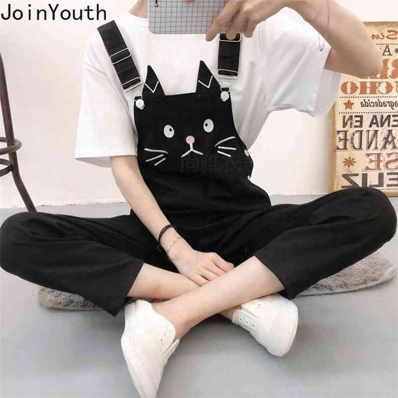 Женские спортивные штаны Свободные корейские повседневные Rompers студент комбинезон моды милые прямые брюки женские 7B909 210506
