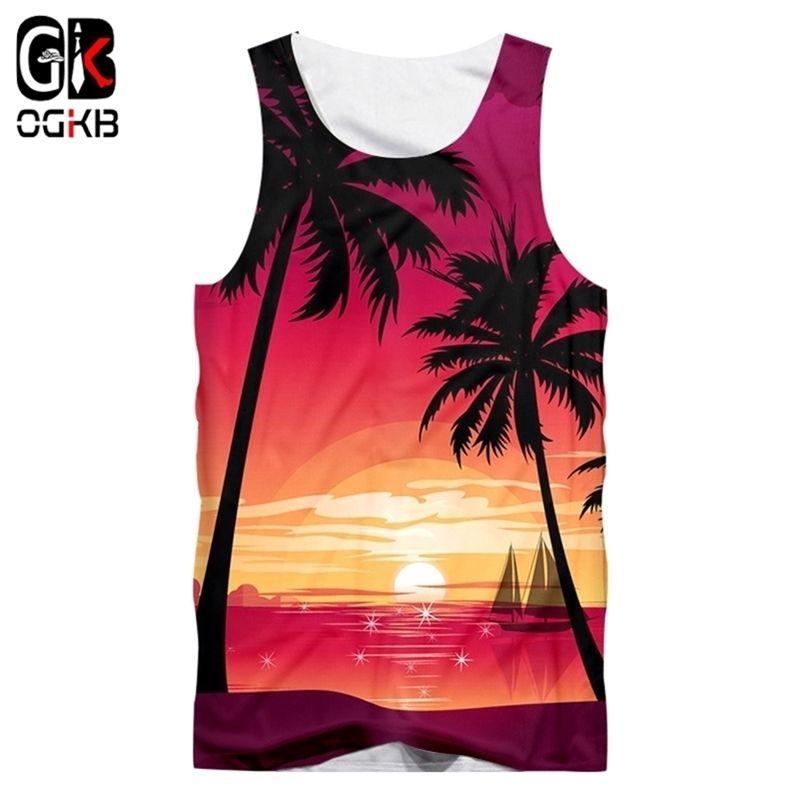 OGKB New Colete Moda Masculina Casual 3D Hawaiian Imprimir Pôr do sol Beach Sem Mangas Quick Seco Topo Feminino Vista havaiana das mulheres grandes 210408