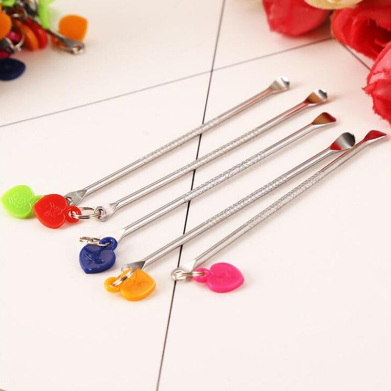 DHL 70mm 2.8in Length Bag Dry Herb Tobacco Stainless Steel Dabber Wax Oil Dab Metal Tool With Colorful Plastic Heart Shaped Pendant