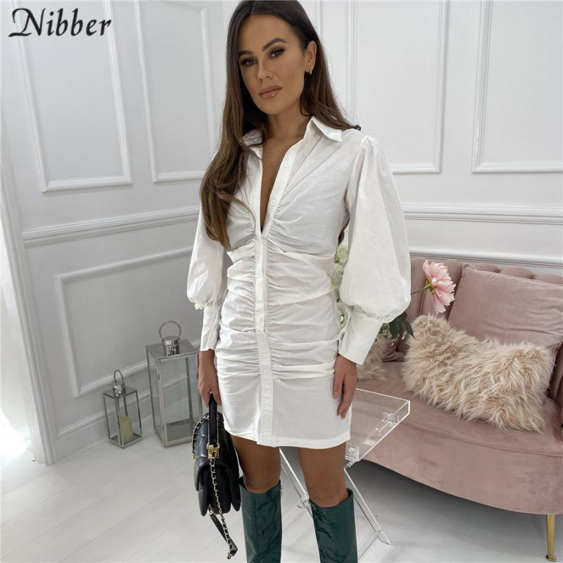 Nibber Elegante Basic Weiß Hemd Kleider für Frauen 2021 Herbst Winter High Street Casual Office Plissee Design Minikleid Weibliche