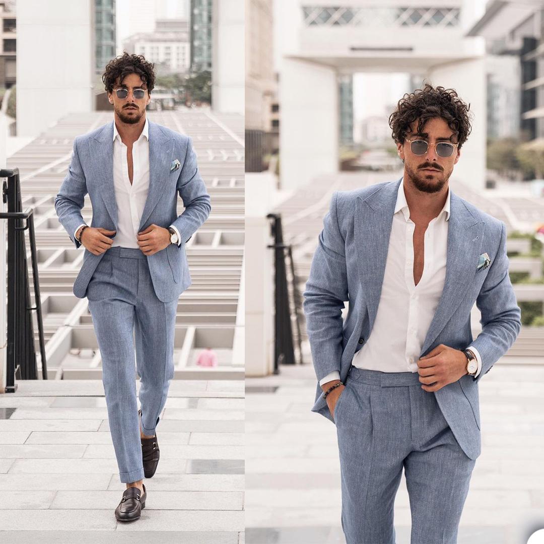 Alta Qualidade Verão Formal Tuxedo Beach Slim Fit Business Ternos Mens Casamento Prom Festa Outfit (Casaco + Calças)