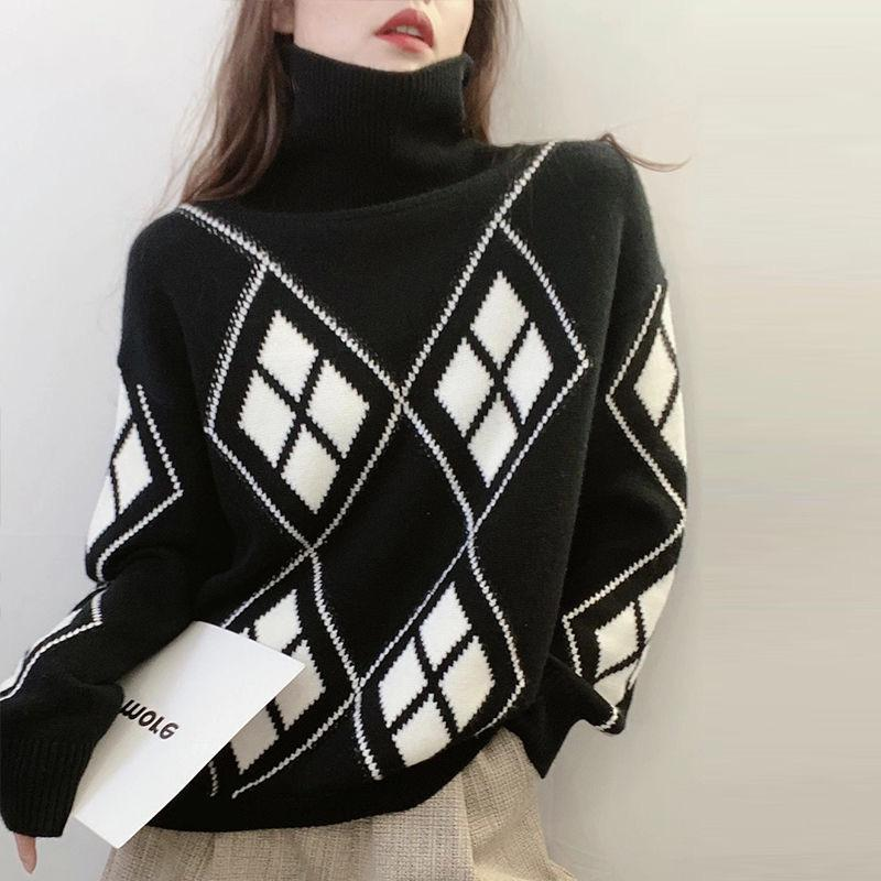 Vintage Sweater 2021 Autumn Winter Fashion Turtleneck Pullover Women Korean High Street Knit Sweaters Female Loose Warm Clothes Women's