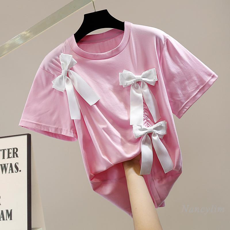 Women's T-Shirt Bow Tshirt For Woman 2021 Summer Sweet Top Loose Short Sleeve Girls Ladies Camisetas De Mujer White Black Pink