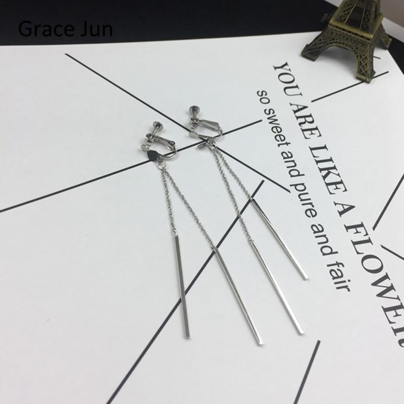 Clip-On-Schraube Back Gnace Jun top Qualität Mode Doppel Langer Herz Quaste Stick Clip auf Ohrringe und durchbohrt für Frauen Luxuszubehör
