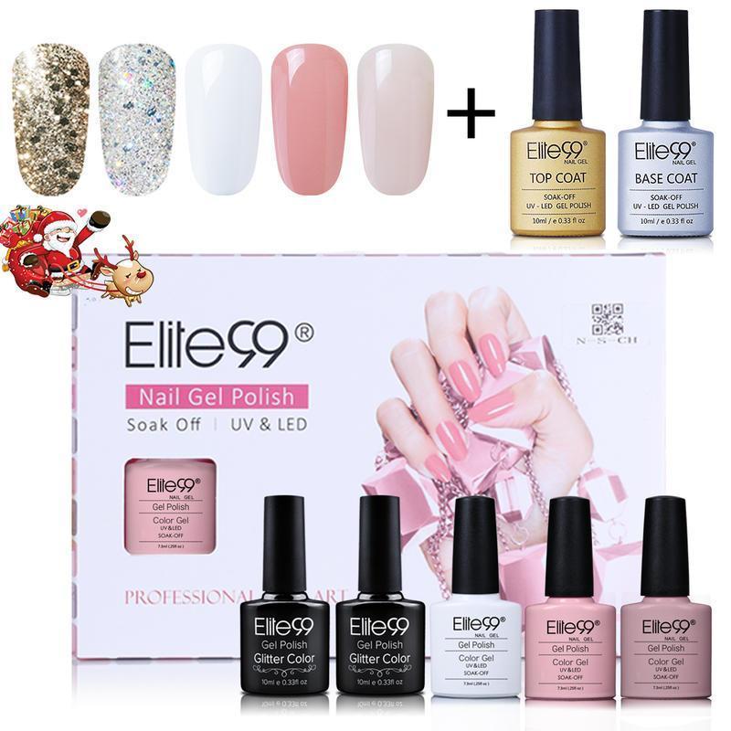 Nail Art Kits Elite99 7pcs/Lot Gel Polish Set With Gift Box Glitter Color Soak Off UV LED Top Coat Base Kit