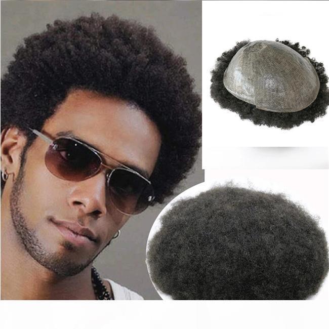 Remplacement des cheveux humains indiens Unité de l'homme Afro Wave 8mm 12mm Toupes à base de PU à base de PU pour hommes noirs