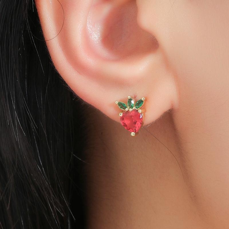 Study 2021 Morango Brincos Gold Gold para Mulheres Simples Rhinestone Brinco Moda Femme Jóias Presente Ear Turns Acessórios