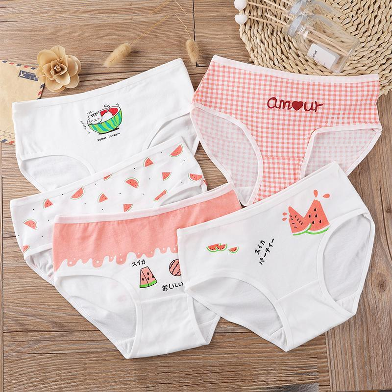 8-14 YRS Çocuk Kızlar Pamuk Külot Çocuk İç Çamaşırı Külot Güzel Baskı Külot 5 adet / grup