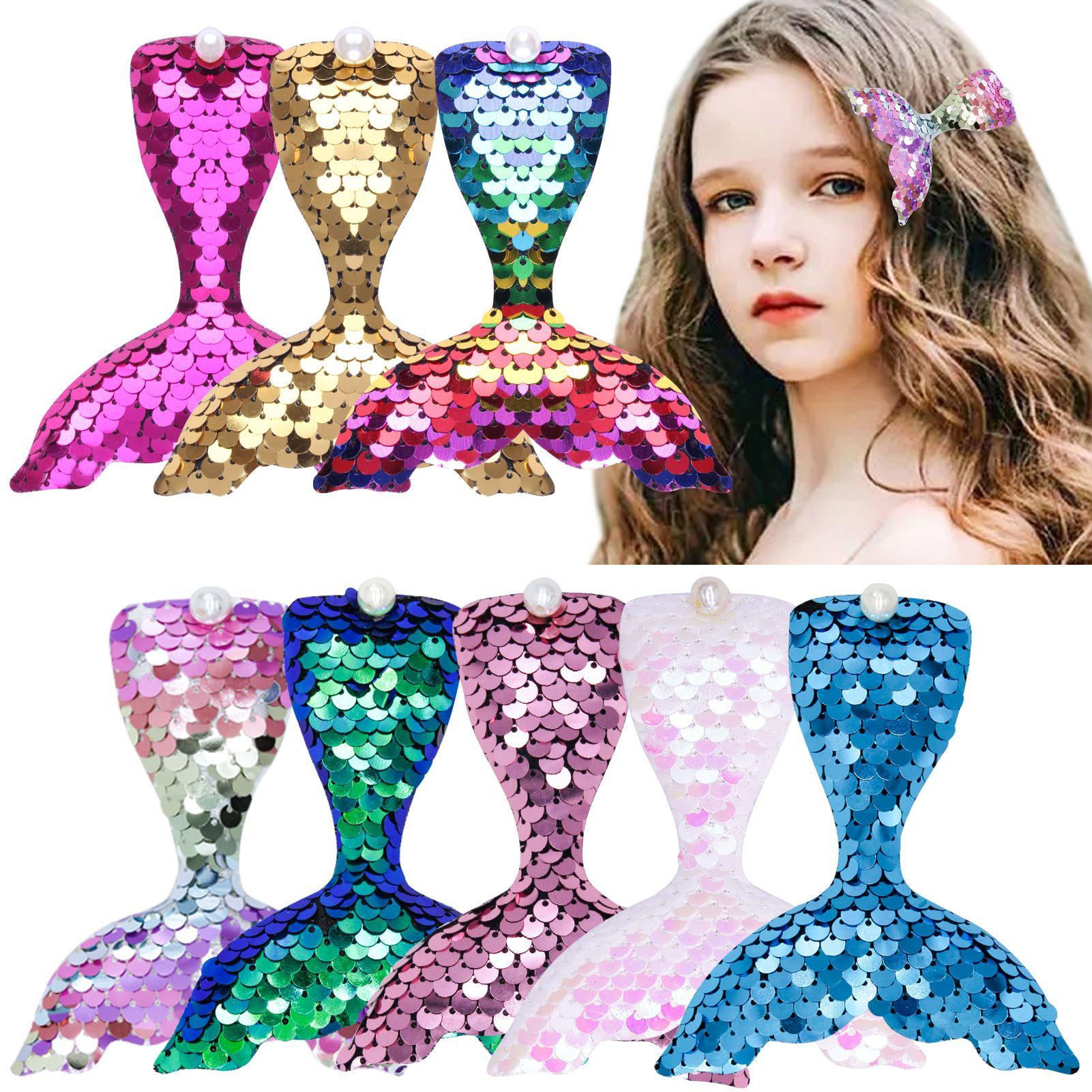Glitter Sequins Mermaid Tail Hair Clips Beautiful Pearl fish tails Hairpins Cute Trendy Headwear for Girls DIY Hair Accessories