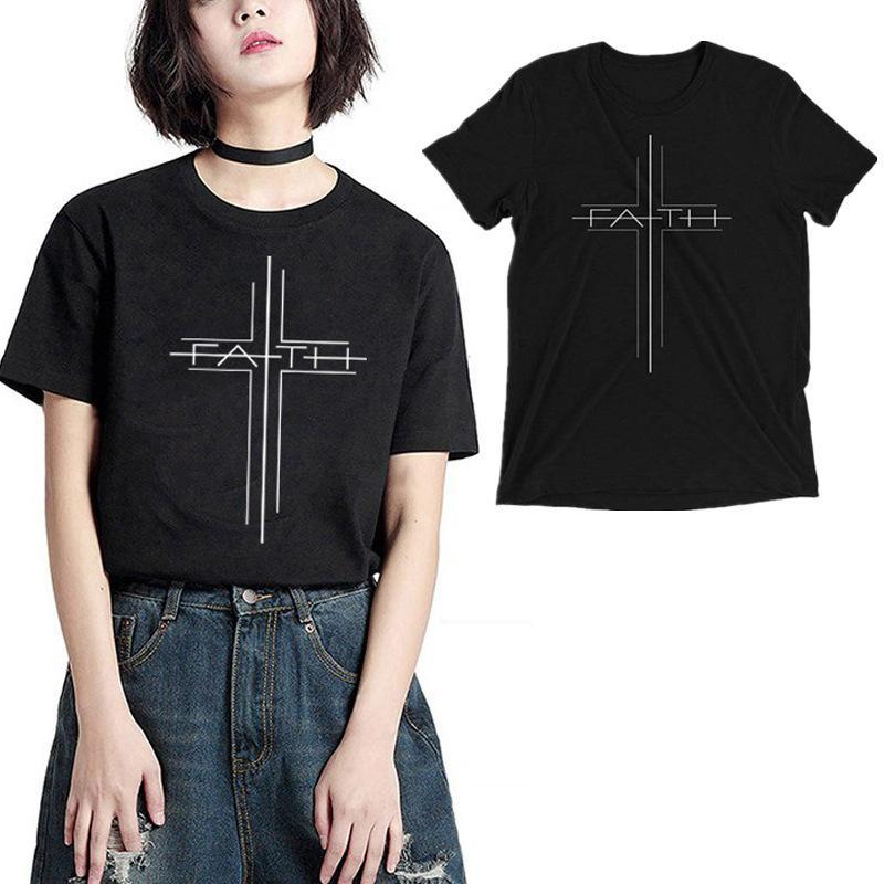 MS T-Shirt مصمم عصري مع نمط مسيحي إبداعي، طباعة رقمية رسالة، تناسب فضفاضة، المرأة قصيرة الأكمام