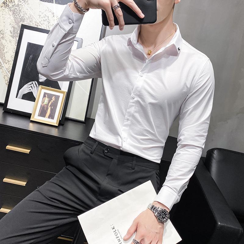 가을 남자의 긴팔 셔츠 슬림 비즈니스 캐주얼 간단한 자수 리본베이스 남성 셔츠를위한 흰색