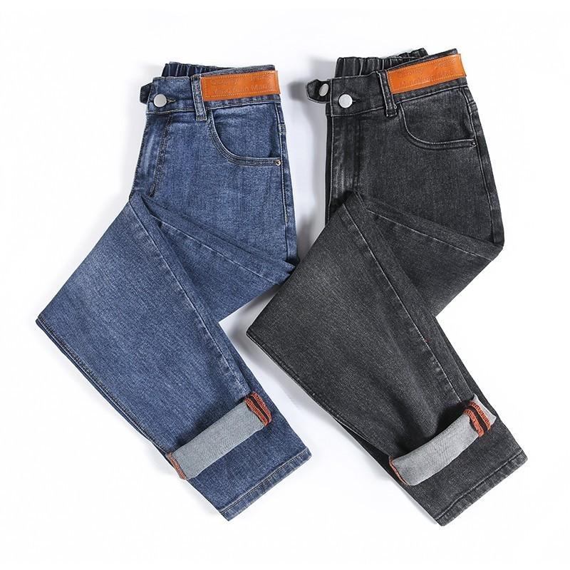 Женские джинсы высокая талия плюс размер на молнии на молнии повседневные свободные полнометражные женские джинсовые брюки