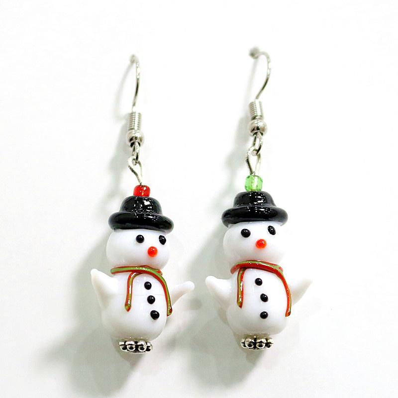 Decorative Objects & Figurines Funny Cute Handmade Glass Snowman Earrings For Women Colorful Kawaii Xmas Charm Eardrop Design Girls Fashion