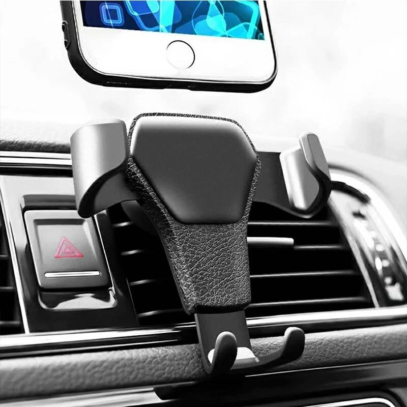 Automatic Locking Gravity Universal Air Vent GPS Cell Phone Holder Car Mount Stand Grille Buckle Type Compatible with All Smartphone