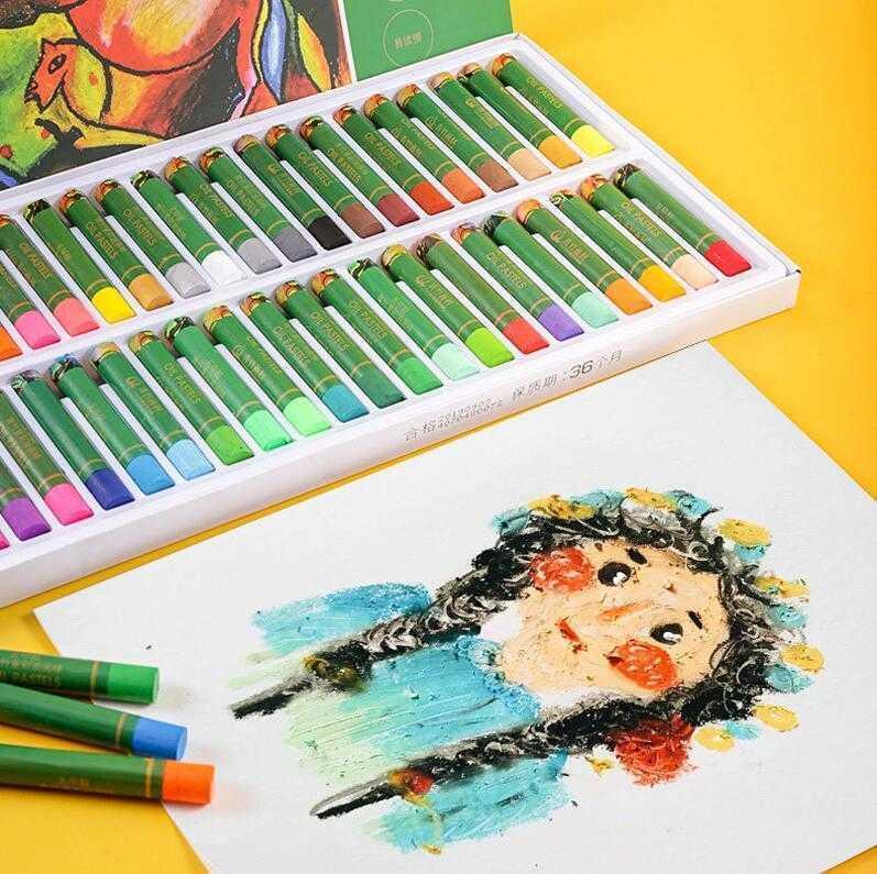 Yeşil Bambu Formaldehit Ücretsiz Ağır Renk Yağlıboya Çubuk Çocuk Güvenliği ve Çevre Koruma Suluboya Kalem Crayon 36 Renkler