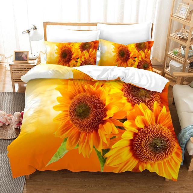 Yatak Setleri Ayçiçeği Set Lüks Nevresim Romantik Gül Çiçekler Yorgan Dijital Baskı Yatak Keten Moda Tasarım