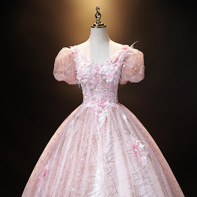 Bubble Hülse Rosa Strass Perlenstickerei Luxus Ball Kleid langes Kleid Rokoko mittelalterliches Kleid Renaissancekleid Königin Victorian / Marie / Belle Kugel / Bühne / Kleid