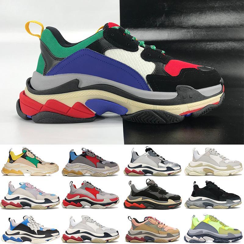 Top Quality Triple-s 6-camada combinação sola sapatos casuais multi-cor Triple preto preto prata plataforma vermelha homens mulheres Sneakers US 6-12