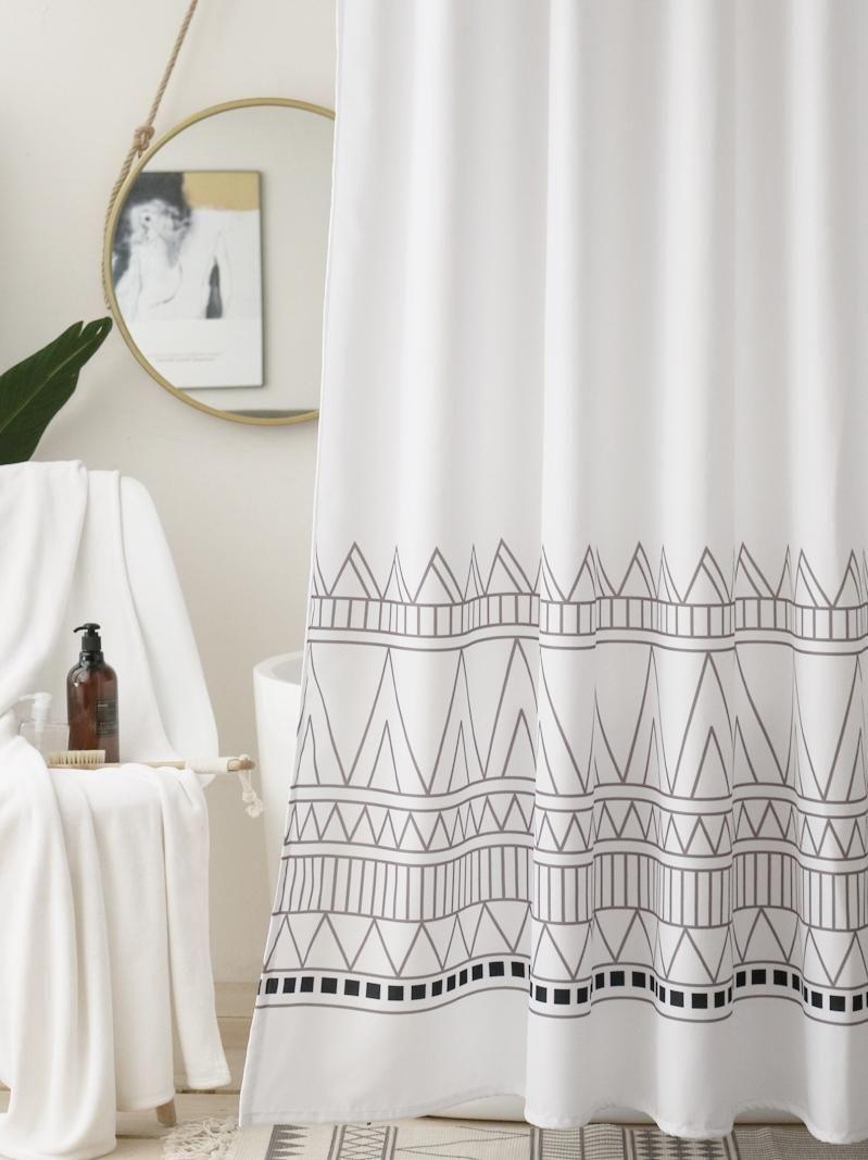 Shower Curtains Polyester Stripe Curtain Geometric Art Washable Japanese Separate Douchegordijn Accessories DE50YL