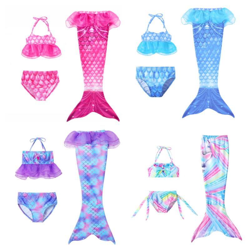 Ragazze Cosplay Costume da bagno 3 PZ Mermaid Tail Swimwear Kids Mermaid Piscina Costume da bagno Costumi da balneare Sensaid Princess Party Costumi cosplay 726 S2