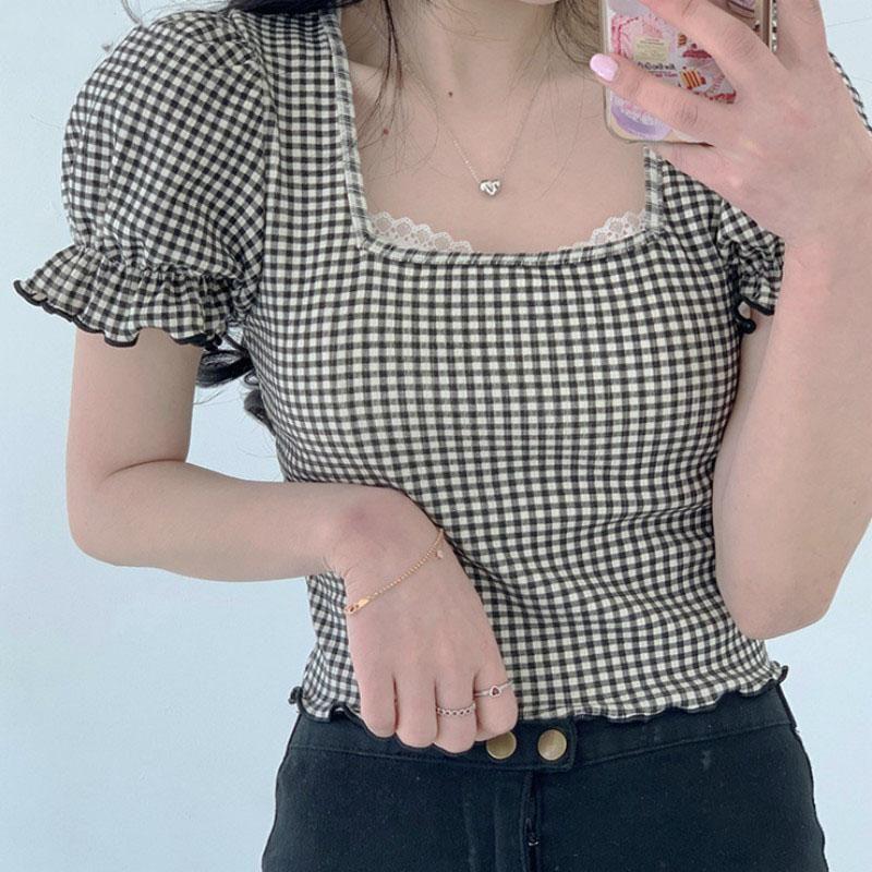 Camicette da donna Camicie Vintage Camicia quadrata Camicetta quadrato Plaid Tops Puff Bort Sleeve Coreano Samiglia in vita alta Estate Summer Cotton Office Lady