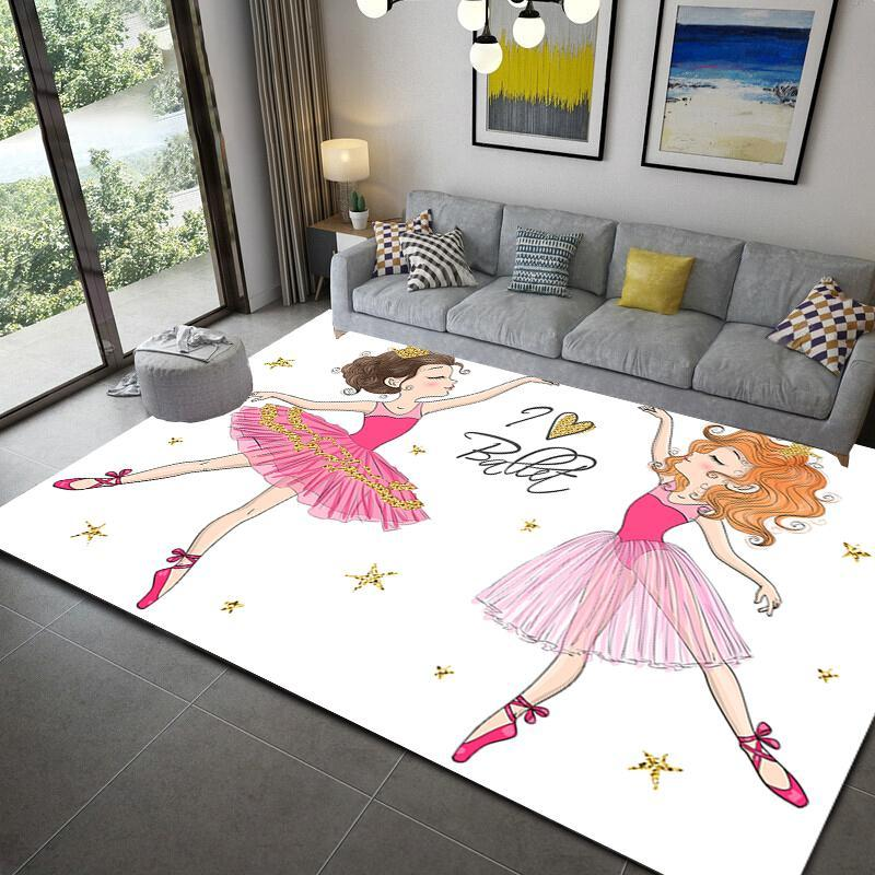 Carpets 3D Print Cartoon Ballet Gir LArea Rug Kid Bedroom Game Floor Mat Soft Flannel Memory Foam Girl Room Play For Living