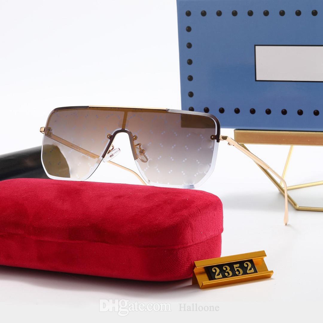 Luxus klassisches Design Sonnenbrillen für Herren Womens Marke Vintage Pilot Polarisierte Sonnenbrille 2352 Übergroße rahmenlose UV400 Designer Männer Frauen Glas Linsen Brillen