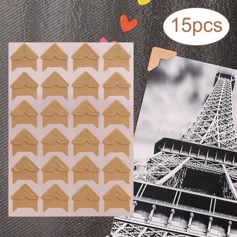 Gift Wrap 15 Sheets Po Corners Self-adhesive Labels Retro Wrapping Paper 360 Pieces Stickers For Protection DIY Supplies#W5