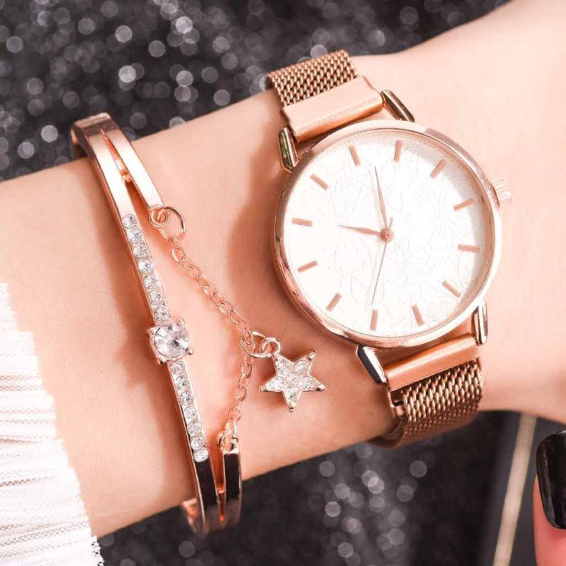 Bracelets femmes ethniques montres imprimées florales mode maille cuir petite beauté simple bracelet casual costume femme