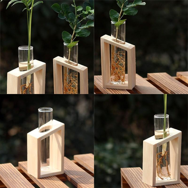 Jarrón de tubo de ensayo de cristal en macetas de soporte de madera para plantas hidropónicas Decoración de jardín de casa 507 R2