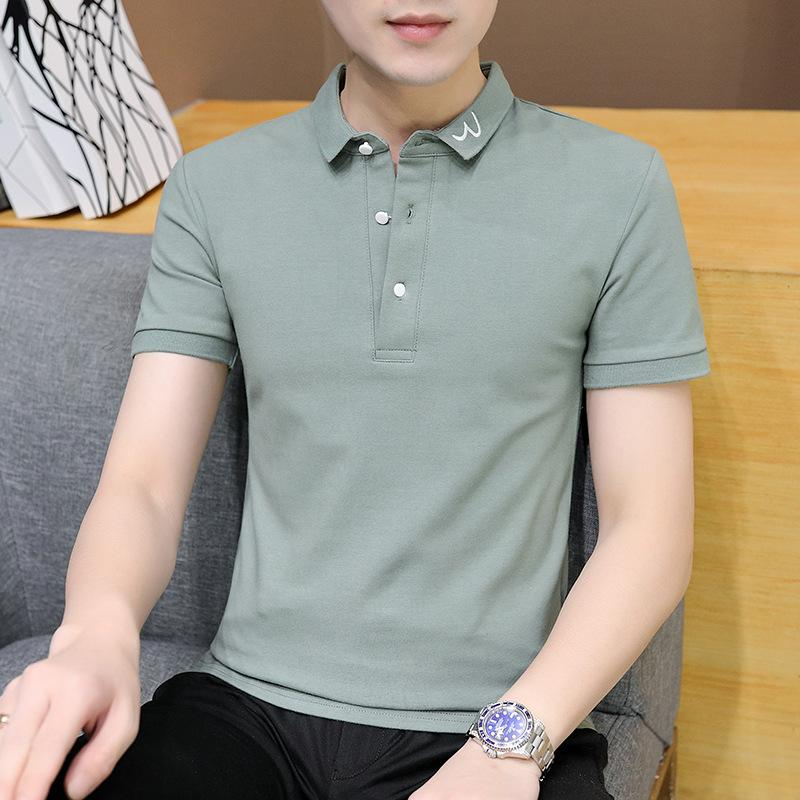 Factory8k 2021 летние корейские тонкие моды мужские с короткими рукавами рубашка поло с коротким рукавом молодежь повседневная отворот футболка мужская одежда